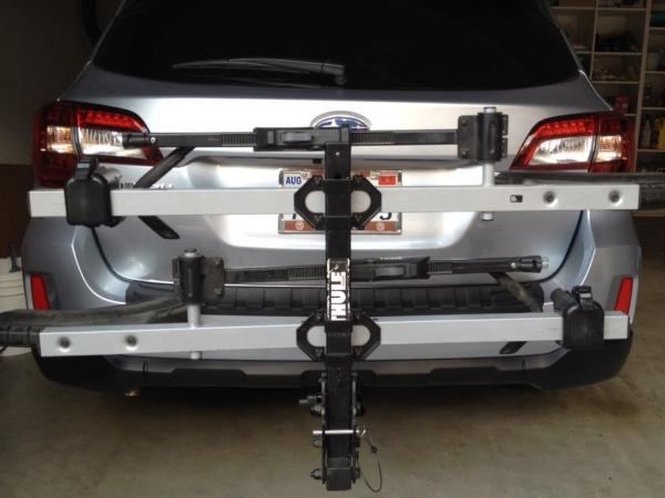 Treat yourself to a bike rack-ready trailer hitch with the EcoHitch for the 2016 Subaru Outback