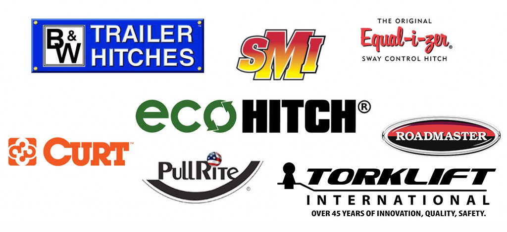 Tow equipment brands we carry: B&W Trailer Hitches, Pullrite, Roadmaster, SMI, Curt, Torklift International, Equal-i-zer, EcoHitch